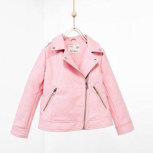 Zara girls pink faux leather jacket